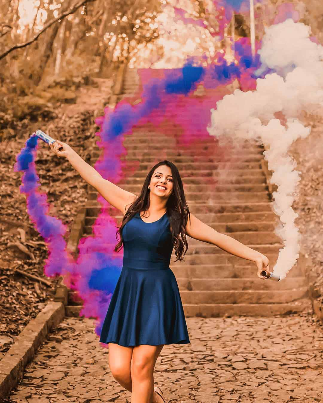 ensaio 15 anos com fumaca colorida rosa e azul