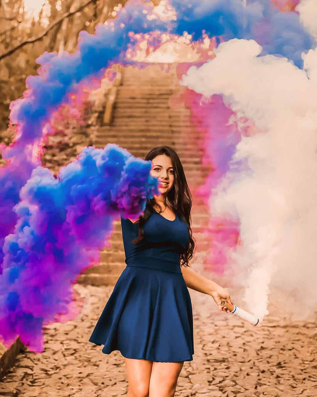 ensaio com fumaca colorida ruinas do poleto